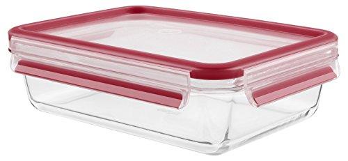 TEFAL - K3010812 - MASTERSEAL Fresh Glass - Boîte verre de conservation alimentaire rectangle - 0.7L - Rouge