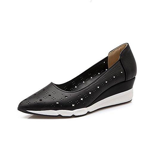 AllhqFashion Femme Pointu à Talon Correct Matière Souple Couleur Unie Tire Chaussures Légeres Noir