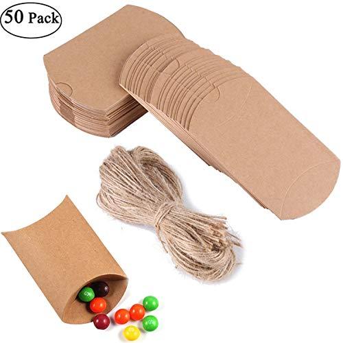 Ouinne [50 Stück Geschenke Boxen, Gastgeschenke Kraft Papier Geschenk Box mit Juteschnur für Süßigkeiten, Schmuck, Einladung, Geschenk, Party