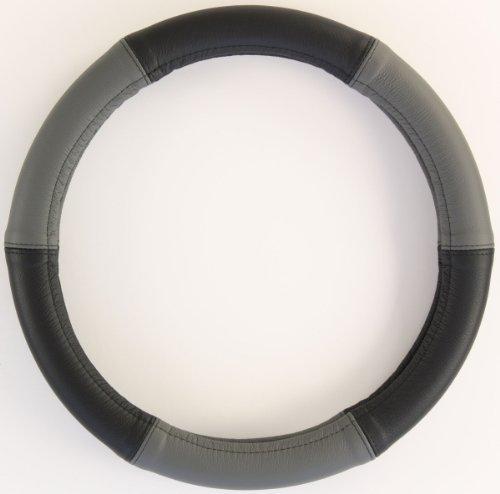ZentimeX Lenkradbezug Lenkradhülle Lenkradschutz 40-41cm Leder schwarz+grau