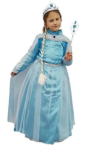 PICCOLI MONELLI Kostüm ELSA Frozen Mädchen Prinzessin Großbritannien Fasching Karneval 9 anni da spalla a Terra 103 cm blau
