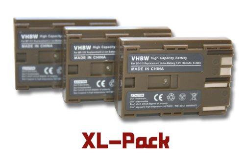 3X vhbw Akku 1300mAh (7.2V) Akku für Canon EOS-, FV-, Media-, MVX-, Optura-, Powershot-, ZR-Serie wie BP-508, BP-511, BP-512, BP-514, BP-522, BP-535 -
