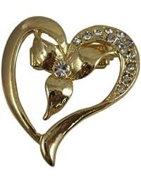 Clip pour écharpe, Broche, Echarpe de Cravate, doré en forme de cœur avec diamants