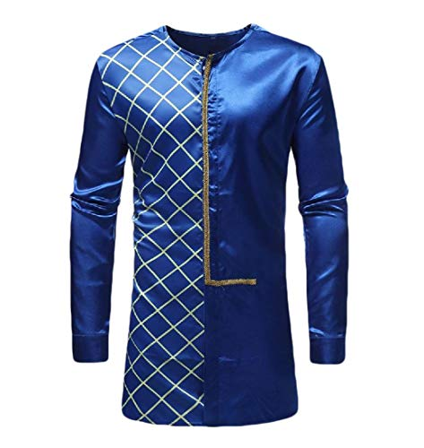 Aooword-men clothes Herren plaid vogue afrika mid lange splice langarm-buckle-t-shirts Medium Dunkelblau