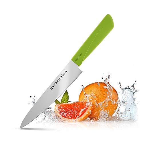 HATAMOTO Küchenmesser der Spitzenklasse - Fleischmesser mit Langer Klinge - Ideale Kochmesser, Sushi Messer oder Chefmesser - Messer aus Edelstahl, 15cm Grün