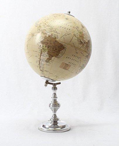 Brass & Copper Classics 8 inch Big Desktop Rotating Vintange / Antique Style Educational World Globe / Earth Globe / Political Globe / Geography Globe/ Office Globe / Home Decor / Study Globe with Aluminium Stand - Ivory