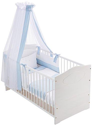 Easy Baby 800-37 Kit complet de lit avec broderies, Tour de lit et ciel Motif Bear, 100/135 + 40/60, Blue