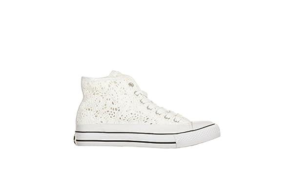 WOZ WOZ086 Bianco Scarpa Donna Sneaker Pizzo Tipo Converse