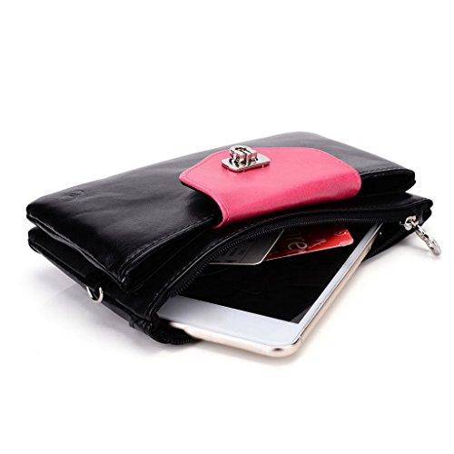 Kroo Pochette Portefeuille en Cuir de Femme avec Bracelet Étui pour Huawei Ascend GX1/G7 Bleu - Blue and Red noir - Black and Magenta