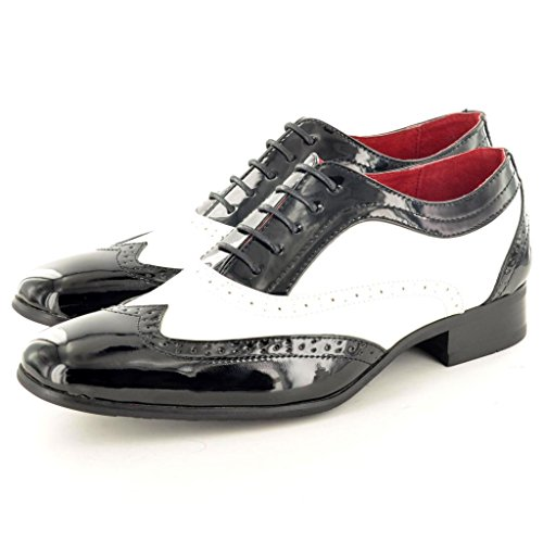 Mens Black/ White Shiny Spats Italian Style Lace Up Wingtip Shoes Formal Shoes Size 9