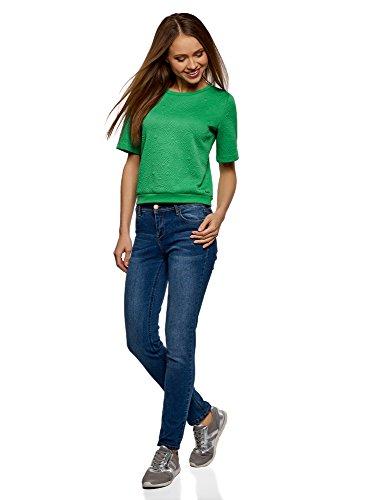oodji Collection Damen Sweatshirt aus Strukturiertem Stoff mit Kurzen Ärmeln Grün (6D01N)
