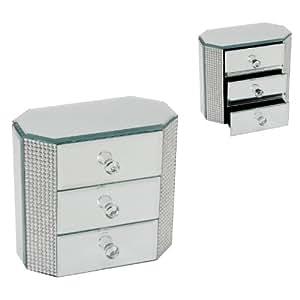 design moderne en verre miroir bo te bijoux avec 3 tiroirs cuisine maison. Black Bedroom Furniture Sets. Home Design Ideas