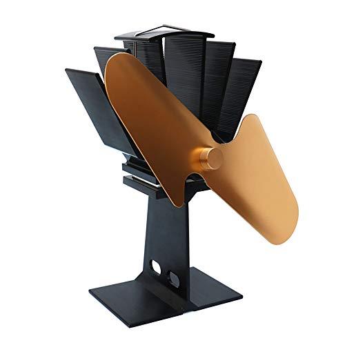LIGHTOP Ofenventilator Feuerstelle Ventilator 2-Blatt-Kaminventilator fur Holzoefen Kaminoefen Stromloser oefen