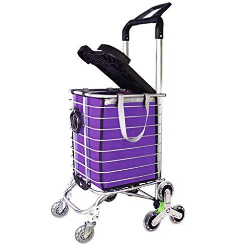 Dongyd Leichter 8-Rad Einkaufswagenwagen Mit Verstellbarem Griff, Aluminium-Kletteranhänger Mit Klappbarem Deckel - Lila
