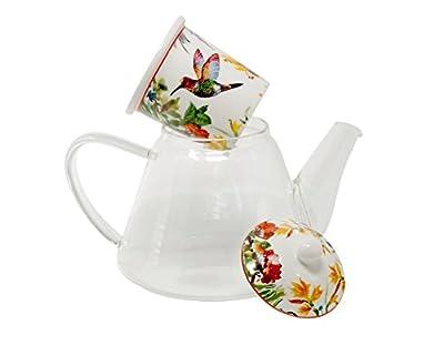 Duo Théière en verre avec filtre Porcelaine | Linnea 1,2l dans un emballage cadeau