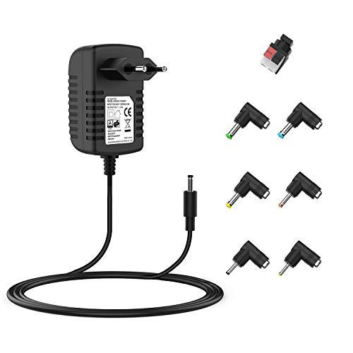 Universal AC DC Netzteil Ladegerät 12V 2A Netzkabel Ladegerät für Router,Wifi,Lautsprecher, LED-Lichtleisten, Webcam,FritzBox,Set-Top-Box und weitere 12V-Geräte (Automatische einstellung, 7 Tipps) (Adapter Switching Power 5v)