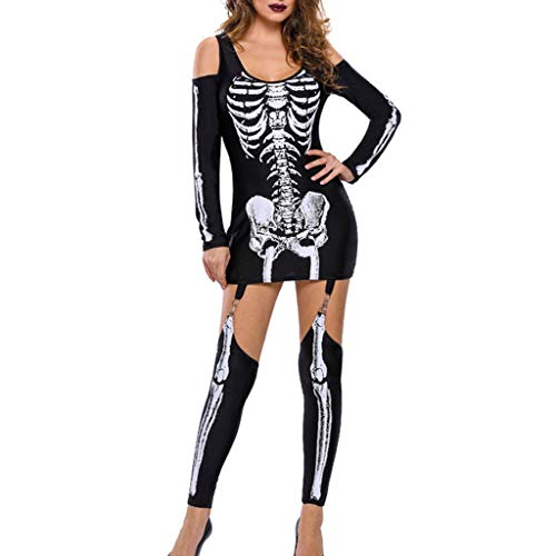 INLLADDY Halloween Kostüm Damen Skelett Overall Jumpsuit Knochen Skeleton Anzug Karneval Fasching Bodycon Kostüm Neuheit Party Kleid Schwarz M -