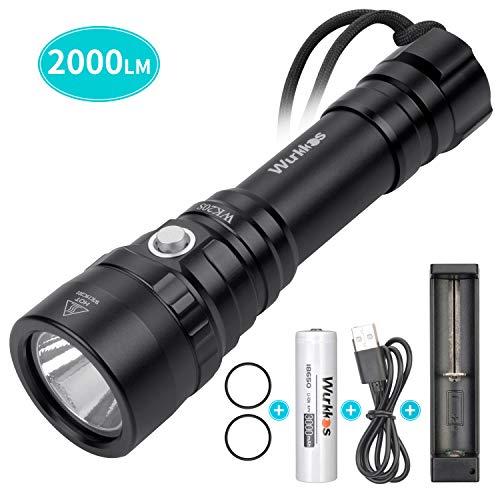 Wurkkos Linterna para buceo,potente luz de buceo recargable con XHP35 HD de 2000 lumenes de potencia, sumergible hasta 150 metros a prueba de agua, impermeable IPX-8 , linterna sumergible LED