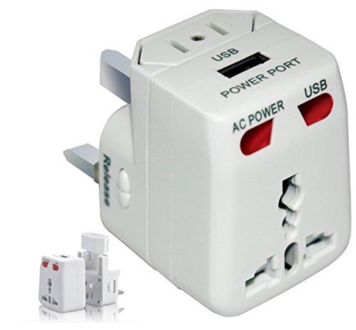 -out4live- Universeller Reise-Adapter mit USB-Ladeanschluss (1000mA), All in One, fuer ueber 150 Laender geeignet, mit Ueberspannungsschutz und austauschbarer Sicherung, Farbe: weiss