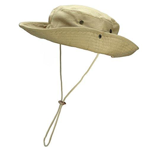 Faleto Outdoor Hut Buschhut Boonie Hat mit Kinnband Fischermütze Sonnenhut Sommerhut für Herren Damen, Khaki, passt für Kopfumfang 60cm