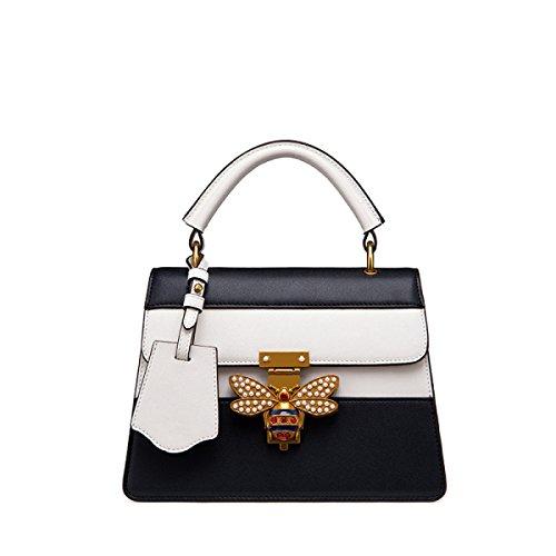 Fabelhaft Einfache Hit Farbe Handtasche Biene Verzierte Schultertasche Black+White
