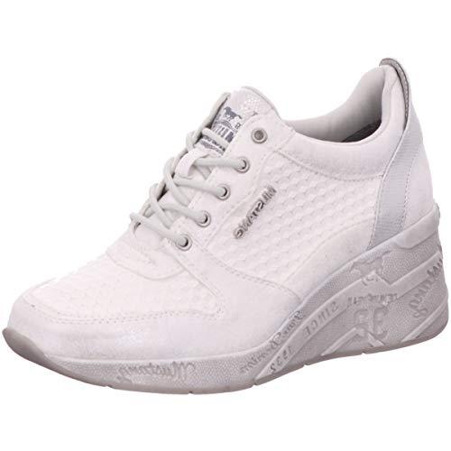 MUSTANG Damen 1319-303-121 Sneaker, Weiß/Silber 121, 41 EU
