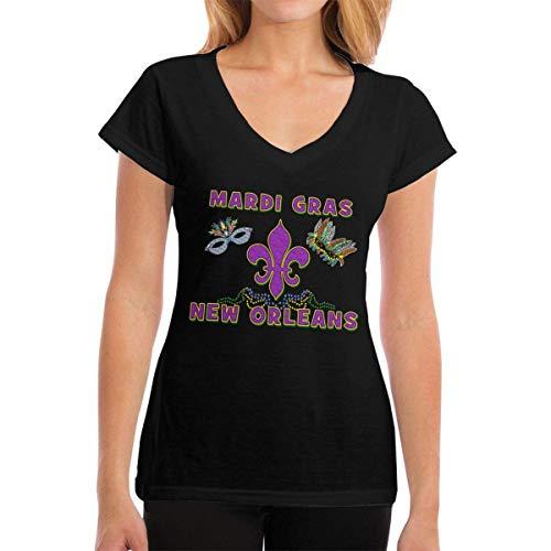 J65EWJ65EJW Frauen T-Shirts Mardi Gras New Orleans V-Neck Short Sleeve Shirts Tshirts Tee (Kleider Mardi Gras-stil)