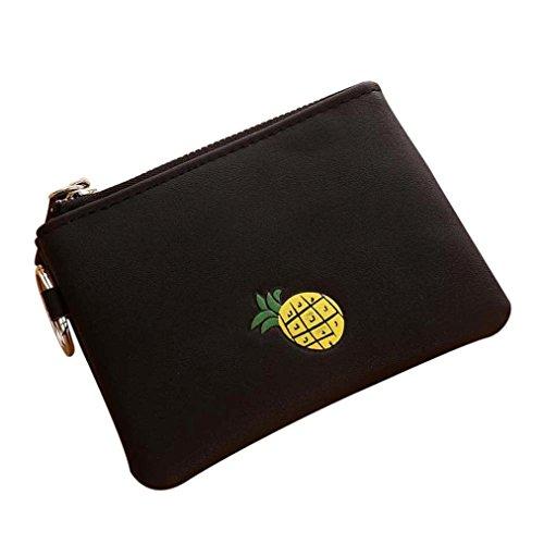 Portafoglio Donna, Tpulling Borsa delle donne semplice della borsa della moneta della chiusura lampo della raccolta della raccolta del raccoglitore delle donne (Green) Black