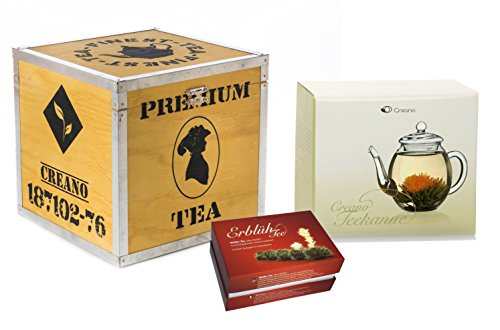 Creano Mix de fleurs de thé in coffret cadeau déco bois - « Floraison » -avec théière en verre | Thé blanc (6 sortes différentes)