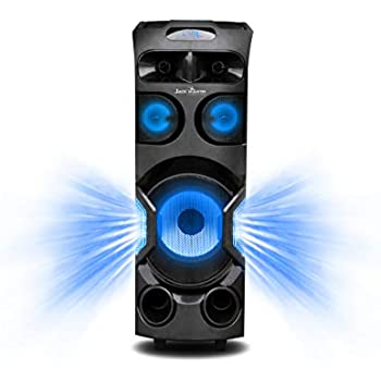 Jack Martin Inferno Bluetooth Party/Trolley Speaker System with LED Screen Display/Voice Recording Function/USB/SD/FM/AUX in with 1 Wireless Mic