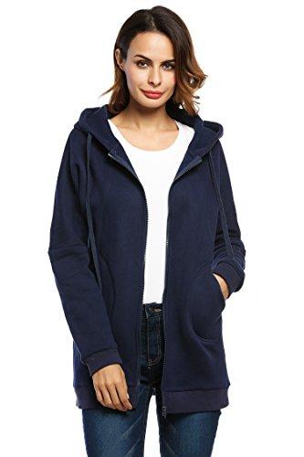 ZEARO Damen Pullover Hoodie Drop-Schulter Kapuzen-Sweatshirt mit Reißverschluss und Fleece-Kapuze Tops Marineblau