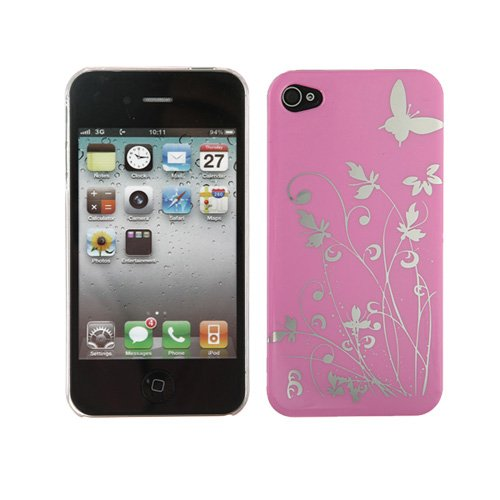 Hard Case Flowers Series ŽlŽgant papillon pour l'iPhone 4 rose