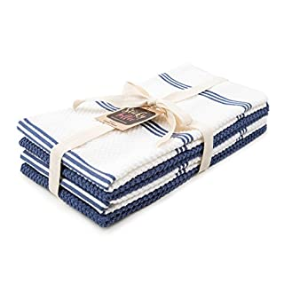 Sticky Toffee 100% Cotton Terry Tea Towels, 4 Pack of Kitchen Towels   40.6 x 71 cms (16 x 28 inches)   Blue   Soft Absorbent Restaurant Bar Glass Kitchen Cloths