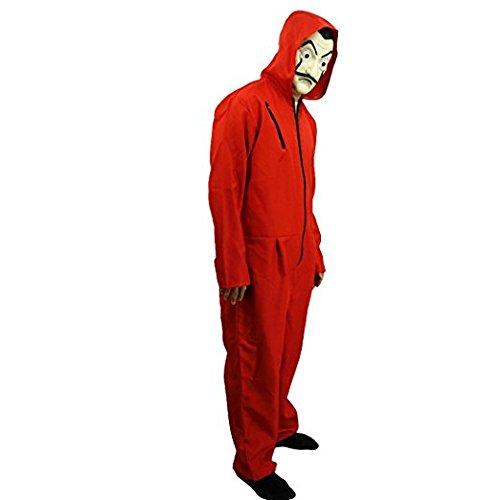 Heist Kostüm - Show Lo Salvador Dali Kostüm mit Maske, Casa de Papel Money Heist Red Coverall, Filmrequisite Halloween-Kleid, Maskenparty, rot, X-Large
