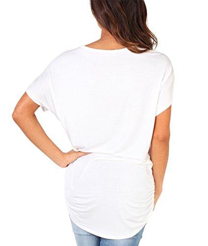 KRISP Damen Shirt Oversize mit Tiger Aufdruck und goldener Applikation Weiß