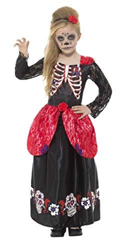 Smiffys Kinder Mädchen Deluxe Tag der Toten Kostüm, Kleid und Haarband, Alter: 4-6 Jahre, 45188