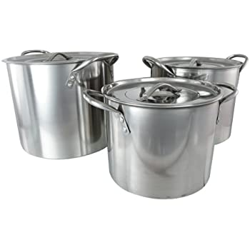 Buckingham Set of 3 Stock Pots with Stainless Steel Lids 20 cm, 23 cm and 26 cm