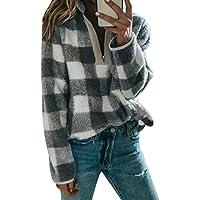 Sudadera para Mujer Plaid Manga Larga Calentamiento Faux Polar Cuello con Cremallera Camiseta Suéter Tops M-2XL