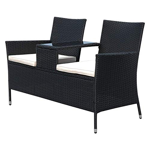 41NeCzEt 1L. SS500  - Rattan Garden Furniture 2 Seater Loveseat with Middle Glass Table Tea Coffee Comfortable Cushions Wicker Porch Deck Poolside Patio Seating Chair Bench Black