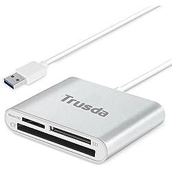 Lecteur de Cartes Tout en Un Compact Flash(CF) / SD/MicroSD USB 3.0 Memory Stick,Trusda USB 3.0 Adaptateur Carte Mémoire Haute Vitesse en Aluminium avec Un Câble de Connexion USB de 12cm - Argent