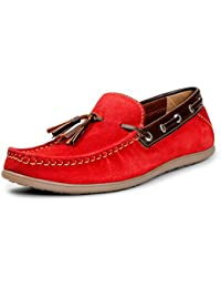 BACCA BUCCI MEN RED SUEDE LEATHER LOAFERS