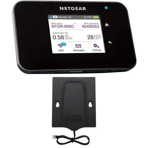 Netgear ac810-100eus router mobile 4g lte fino a 600mbps, wi-fi hotspot dual band ac, touchscreen, funzione di caricabatteria portatile, compatibile 3g, porta usb, nero  6000450 antenna