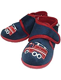 e8051b34759 Toddler Boys Car/Fire Engine Embroidered Fleece Ankle Boot Slippers