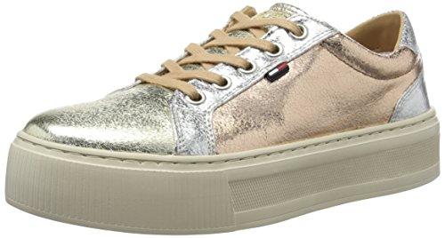 Tommy Hilfiger D1385olly 1z1, Sneakers Basses Femme, Argent (Silver-Rose-Gold 905), 38 EU