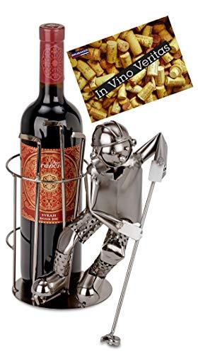 Brubaker Weinflaschenhalter Eishockeyspieler - Flaschenständer für Wein aus Metall mit Grußkarte