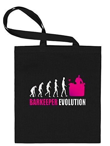 Bar Keeper Evolution–Bolsa de tela estampado por una cara con asas largas–golebros, 100% algodón, negro y rosa, unisex