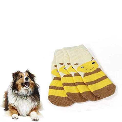 Meioro Anti-Rutsch Hundesocken Traktionskontrolle Cotton Breathable Paw Protectors für Indoor Wear Set von 4 Großen und Mittelgroßen Hunden (3XL, Gelb) - Regen-socken Hund