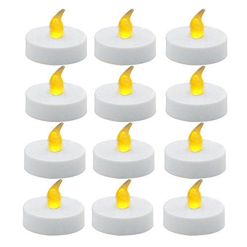 Skitic Candela LED Luce 12 pack con Gialla Calda, Flameless Candles LED Tealight con Batteria, per la cerimonia nuziale, Party, Compleanno, Decorazione, Festival, Bianco - Accenti Fumo