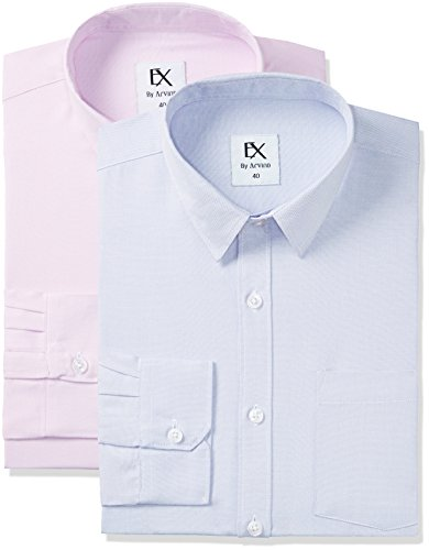 Ex by Excalibur Men's Formal Shirt (8907542816828_273078794_ASSORTED_39_FS) (Pack of 2)