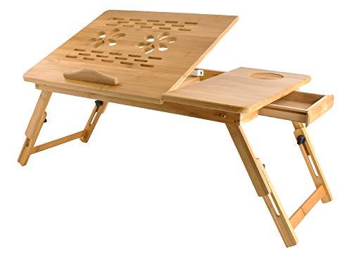 Iso Trade Laptoptisch Notebooktisch Holz,Betttisch, LapdeskBeistelltisch mit praktischem Fach für Stifte oder Notizen Verstellbarer Zeichentisch und Esstisch für Bett55x34,5x26cm 7974 -